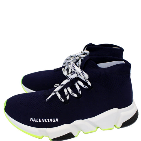 BALENCIAGA Mid Speed Lace-up Sneakers Blue US 9