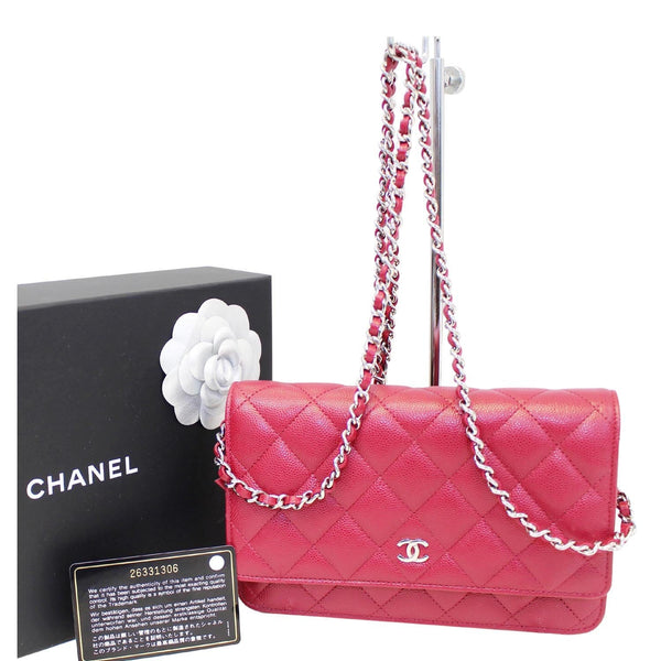 CHANEL Wallet On Chain WOC Clutch Crossbody Bag Red-US