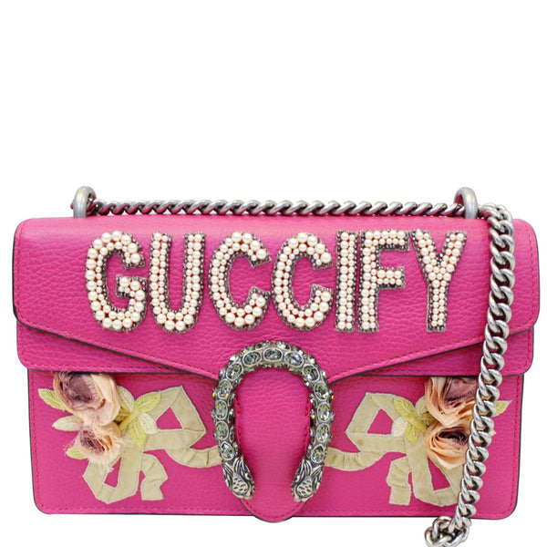 Gucci Dionysus Small Guccify Grained Leather Bag Pink