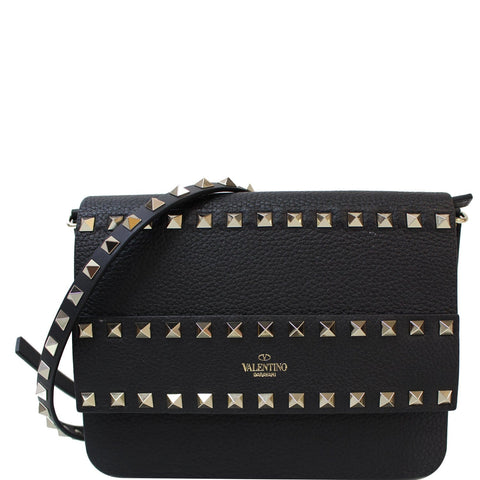 VALENTINO Garavani Small Rockstud Flap Leather Shoulder Bag Black