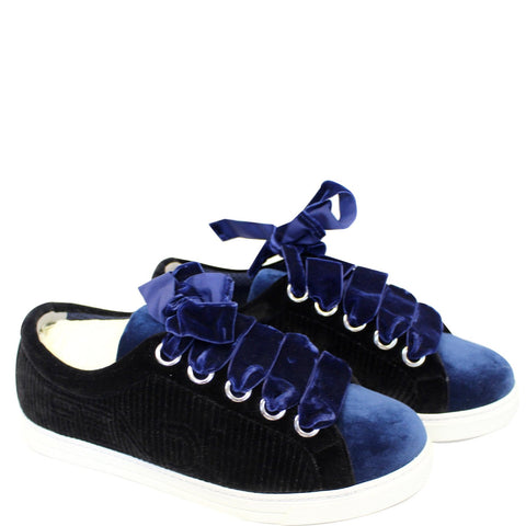 FENDI Velvet Sneakers Blue/Black Size 8.5 US - 20% OFF