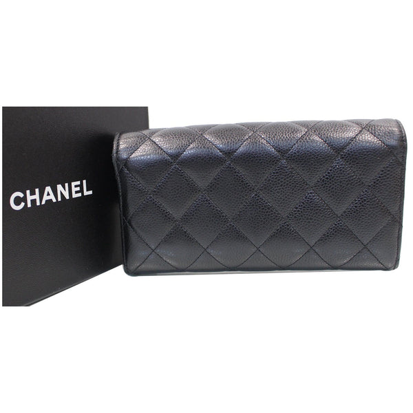 CHANEL Gusset Flap Caviar Leather Wallet Black