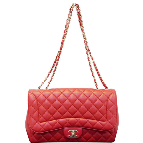 CHANEL Jumbo Classic Single Flap Lambskin Leather Shoulder Bag Red