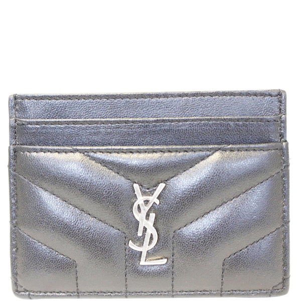 YVES SAINT LAURENT Loulou Matelasse Card Case Holder Black
