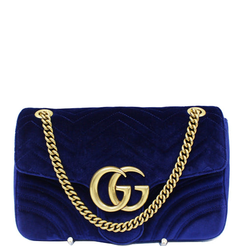 GUCCI GG Marmont Velvet Medium Shoulder Bag Blue 443496