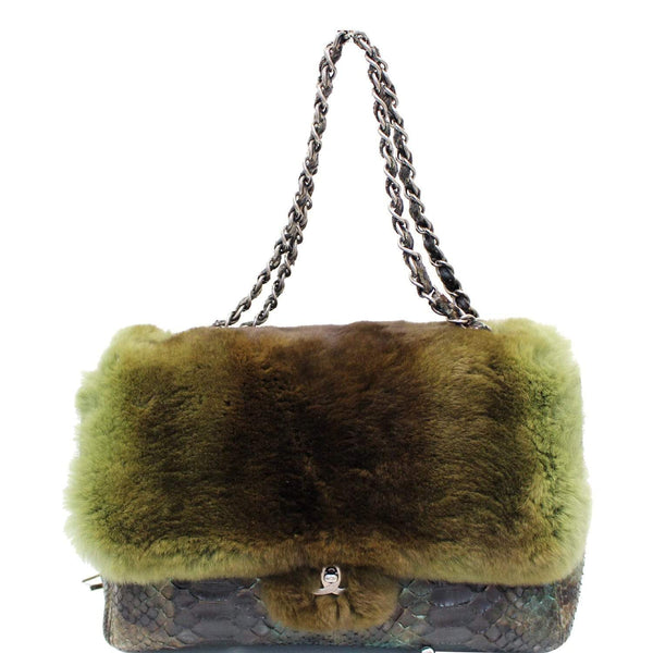Chanel Jumbo Classic Fur and Python Leather Flap Bag Green
