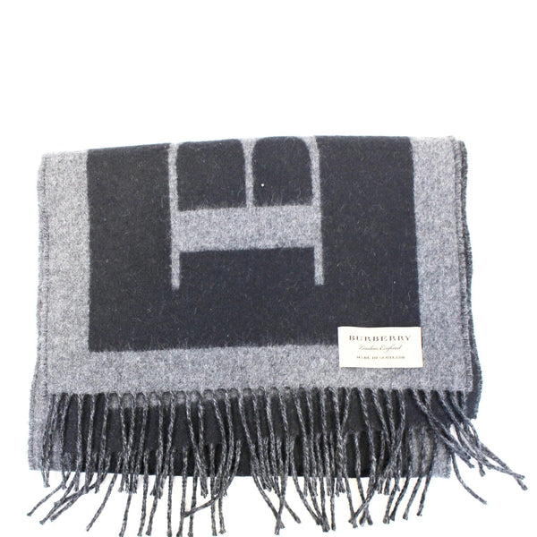 Burberry Scarf Logo Text Cashmere Black & Grey - Burberry tag