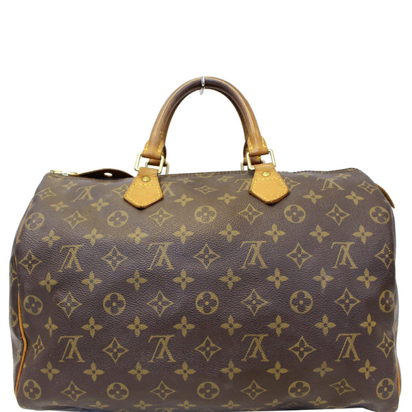 LOUIS VUITTON Speedy 35 Monogram Canvas Satchel Handbag Brown-US