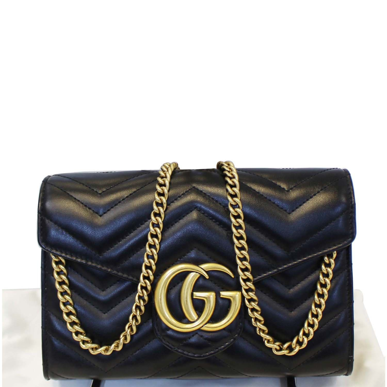 8e913cd7141 GUCCI GG Marmont Matelasse Black Leather Super Mini Crossbody Bag-US