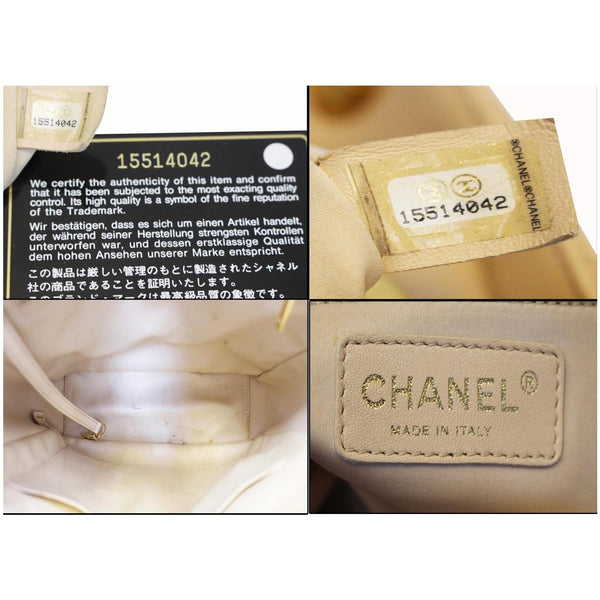 Chanel Tote Bag PST Caviar Leather Petit Shopping Beige interior