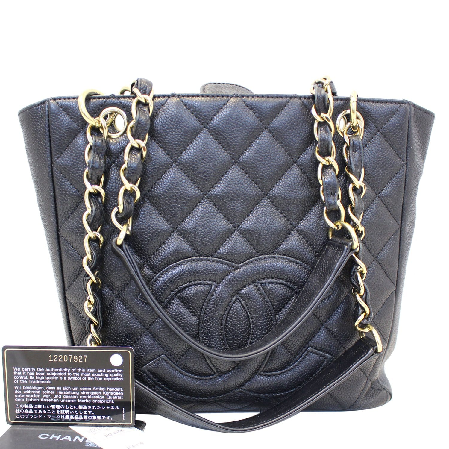 4af89adf8bf CHANEL PST Petit Shopping Caviar Leather Tote Bag Black-US