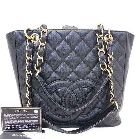CHANEL PST Petit Shopping Caviar Leather Tote Bag Black