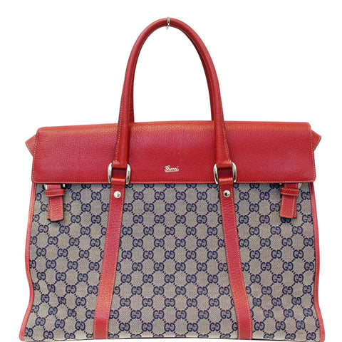 GUCCI GG Monogram Canvas Work Tote Bag Navy/Red