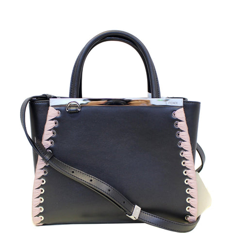 FENDI Petite 2Jours Whipstitch Leather Tote Shoulder Bag Black