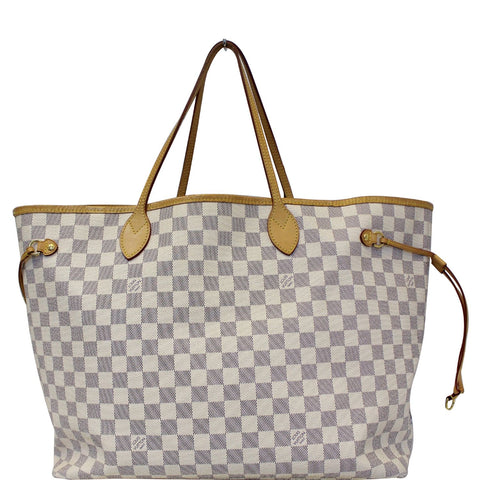 LOUIS VUITTON Neverfull GM Damier Azur Tote Shoulder Bag White