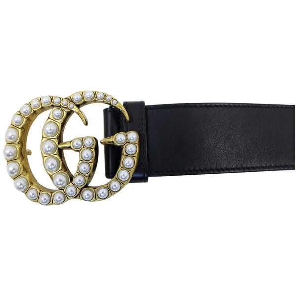 GUCCI Pearl Double G Black Leather Belt Size 44-US