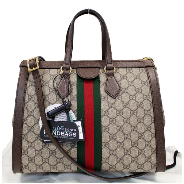 GUCCI Ophidia Medium GG Supreme Tote Shoulder Bag Beige 524537