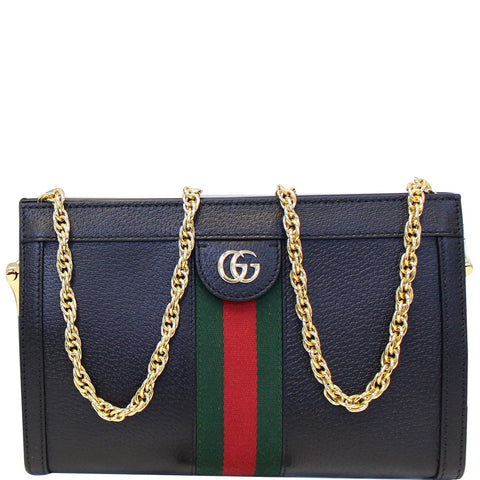 GUCCI Ophidia Small Web Calfskin Shoulder Bag Black 503877