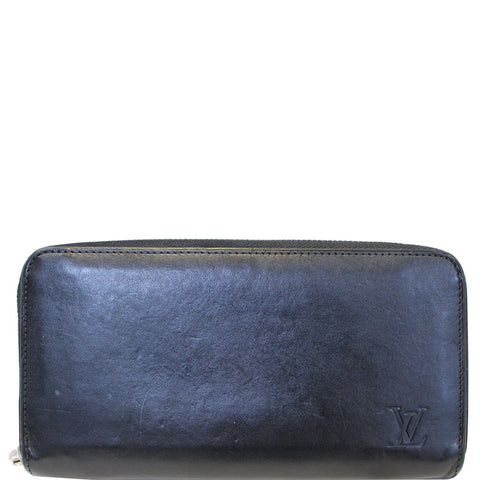 LOUIS VUITTON Zip Around Leather Wallet Black