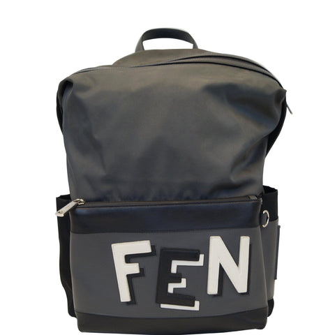 FENDI Shadow Logo Nylon Fabric Backpack Bag Grey/Black - 20% OFF