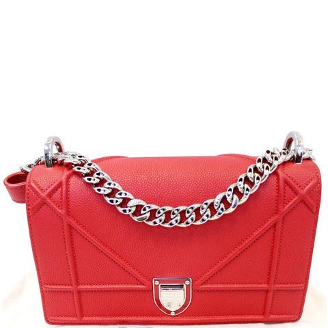 CHRISTIAN DIOR Diorama Flap Red Grained Leather Small Shoulder Bag