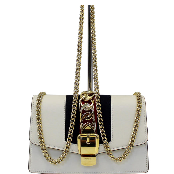 GUCCI Super Mini Sylvie Calfskin Leather Chain Crossbody Bag White-US