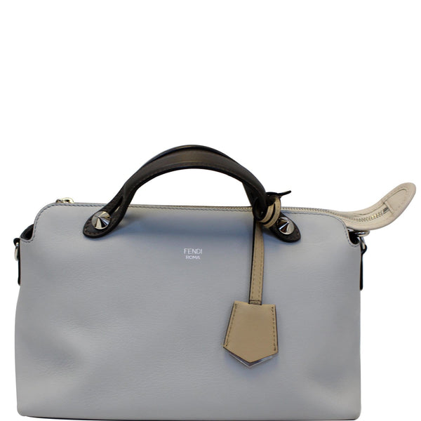 FENDI Small By The Way Leather Shoulder Bag Gray/Light Blue-US