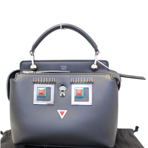 b04610dc3a FENDI DotCom Faces Click Top Handle Embellished Leather Shoulder Handbag
