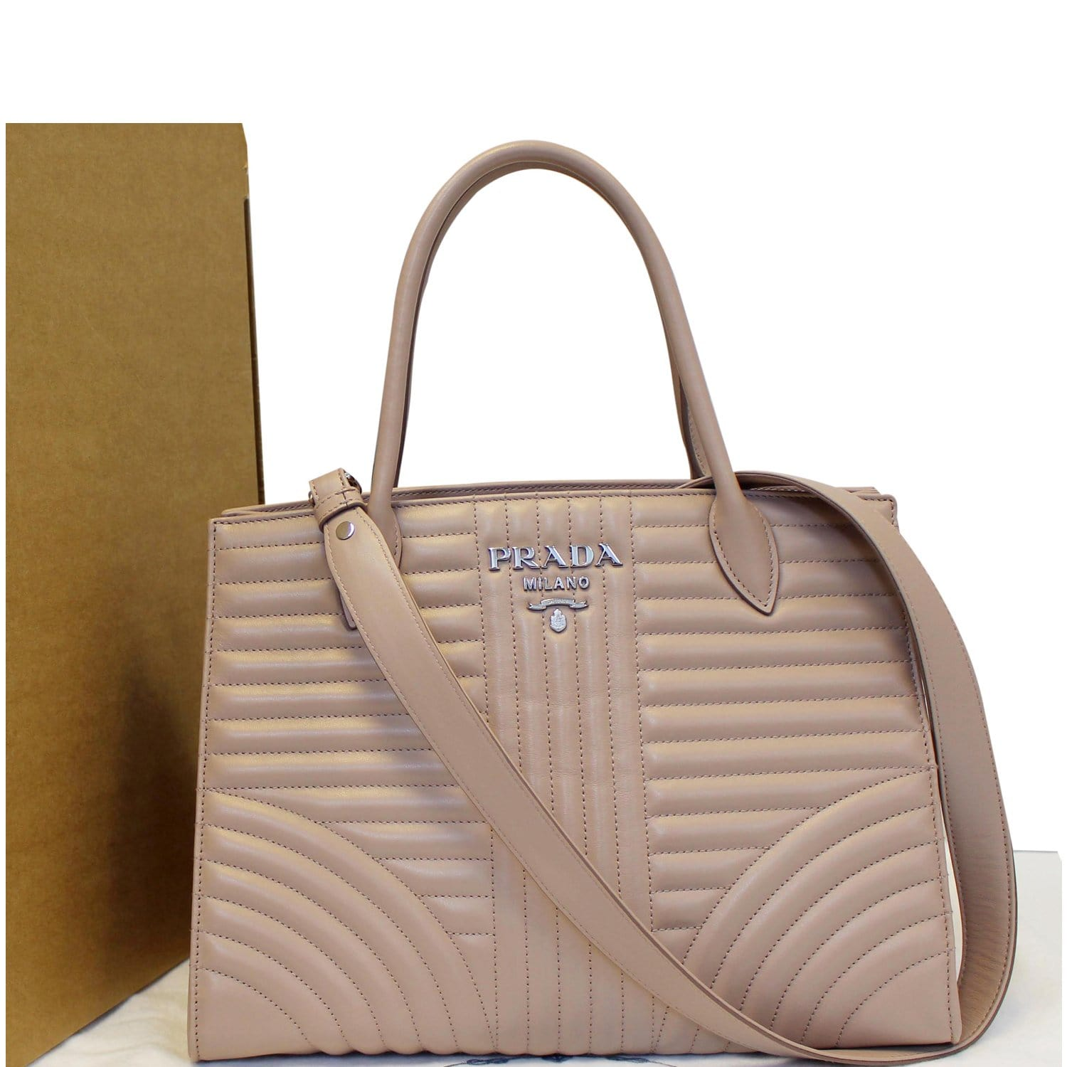 a6fe1691c532a2 PRADA Diagramme Leather Tote Shoulder Bag Nude-US