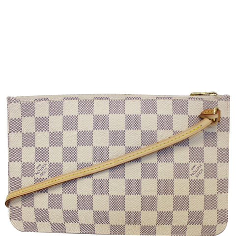 LOUIS VUITTON Pochette Wristlet Pouch Damier Azur Neverfull MM White