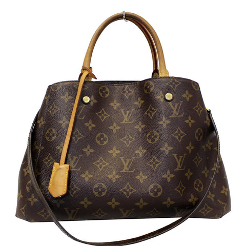LOUIS VUITTON Montaigne MM Monogram Canvas Shoulder Bag Brown