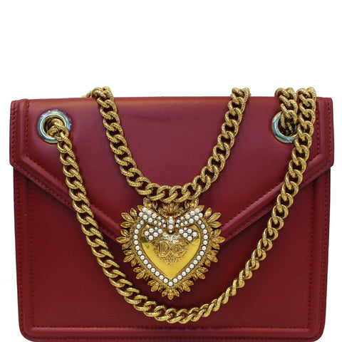 DOLCE & GABBANA Devotion Mini Leather Crossbody Bag Red