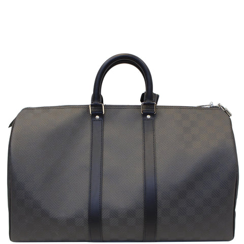 LOUIS VUITTON Keepall 45 Carbon Fiber Carbone Travel Bag Black