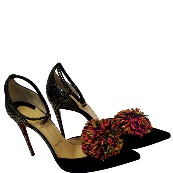 CHRISTIAN LOUBOUTIN Tsarou Suede Pompom Red Sole Pumps US 6-US