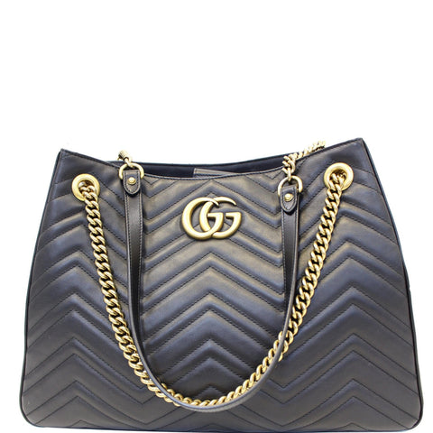GUCCI GG Marmont Metelasse Medium Quilted Leather Shoulder Bag 453569 Black
