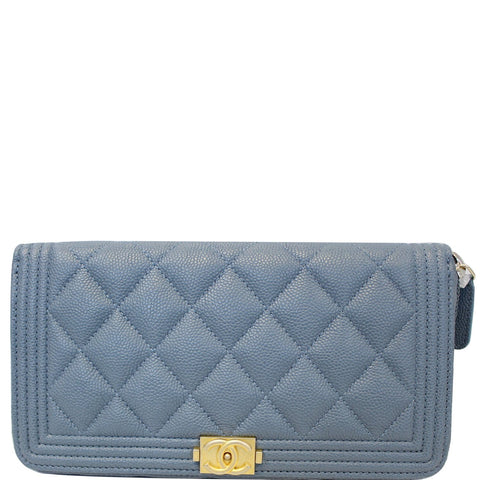 CHANEL Small Boy Long Caviar Leather Zip Around Wallet Blue
