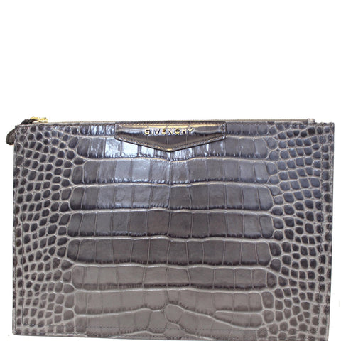 GIVENCHY Medium Antigona Croc Embossed Leather Pouch Grey - 25% OFF