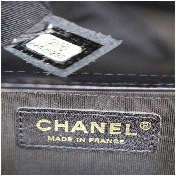 Chanel Le Boy Medium Flap Bag Caviar Leather Black logo view