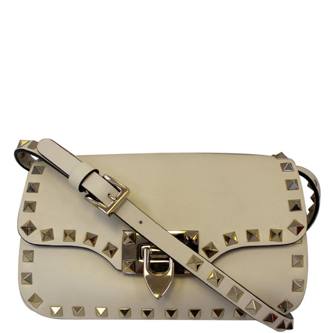 Valentino Rockstud Mini Flap Leather Crossbody Bag Ivory