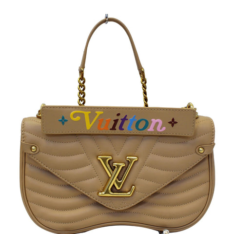 LOUIS VUITTON New Wave Chain MM Calfskin Leather Shoulder Bag Noisette