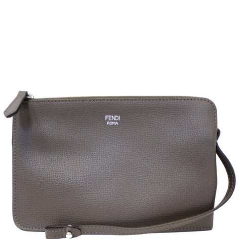 FENDI Leather Wristlet Pouch Charcoal