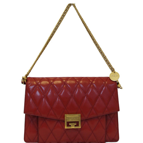 GIVENCHY GV3 Medium Goatskin Quilted Shoulder Bag Red
