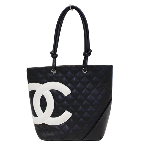 CHANEL Cambon Small Quilted Leather Tote Bag Black