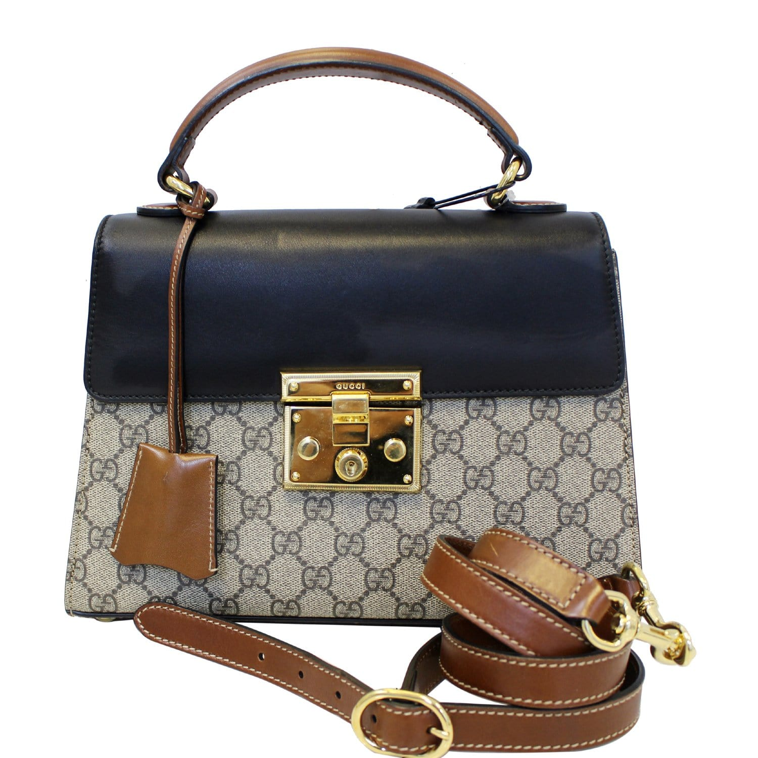 e0ffb268b GUCCI Small Padlock GG Supreme Monogram Top Handle Crossbody Bag 45318-US