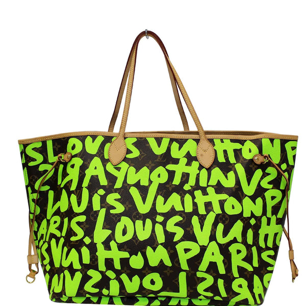 LOUIS VUITTON Neverfull GM Monogram Graffiti Shoulder Bag Lime Green-US