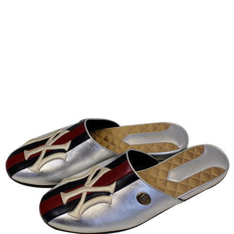 GUCCI NY Yankees Metallic Leather Slipper Mules US 10.5