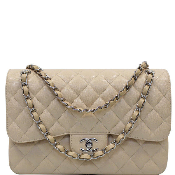 Chanel Jumbo Double Flap Caviar Leather Shoulder Bag Beige