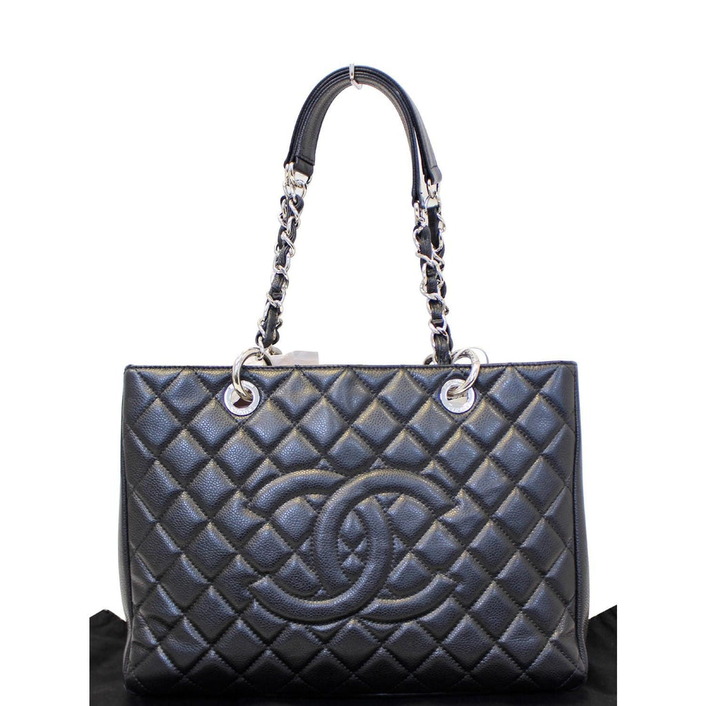 CHANEL Black Caviar Leather Grand Shopping Tote Bag-US