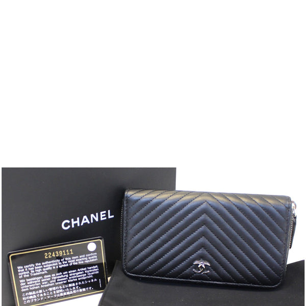 Chanel Wallet Lambskin Chevron Quilted Zip - full view
