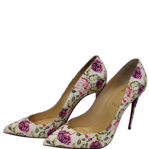 CHRISTIAN LOUBOUTIN Pigalle Follies Watersnake Floral Pumps US 11